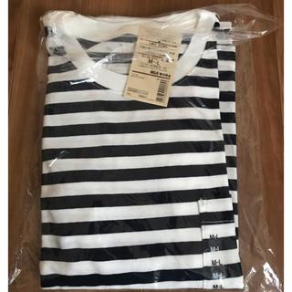 MUJI (無印良品) - 無印良品 クルーネックワイドTシャツ(五分袖) 婦人M~L・白×ネイビー