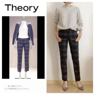 theory - theory☆セオリー☆クロップド パンツ☆グレー☆テーパードパンツ☆チェック柄