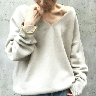L'Appartement DEUXIEME CLASSE - 定価46440円 V NECK KNIT WITH SNOOD グレー