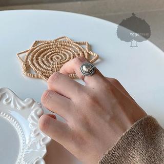 YGG★ラウンド モチーフ シルバー リング 指輪 フリー ワンストーン(リング(指輪))