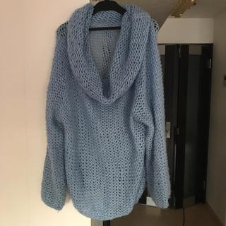 ライトブルー ふんわりザックリ編みニット 空色(ニット/セーター)