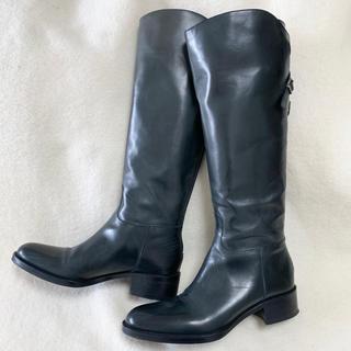 サルトル(SARTORE)の美品 サルトル SARTORE ロングブーツ ネイビー 36.5(ブーツ)