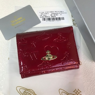 Vivienne Westwood -   Vivienne Westwood新品 レザー がま口 三つ折り財布 レッド
