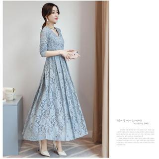 成人式❇︎謝恩会❇︎花柄レースワンピース ドレス ブルー(L)(ロングドレス)