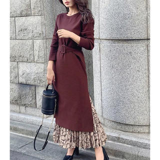 rienda - rienda  Pattern Pleats SET Knit OP