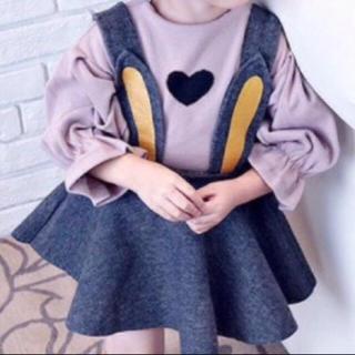 新品[80]ハートフリルロンT(ピンク)韓国子供服