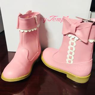 Shirley Temple - 新品タグ付き シャーリーテンプル リボンブーツ 16ピンク 女の子用靴 シューズ