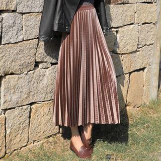 アコーディオンプリーツスカート(シャンパンゴールド♡(ロングスカート)