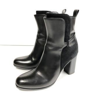 美品 37 SARTORE ショートブーツ 黒 ジップ スエード コンビ 24