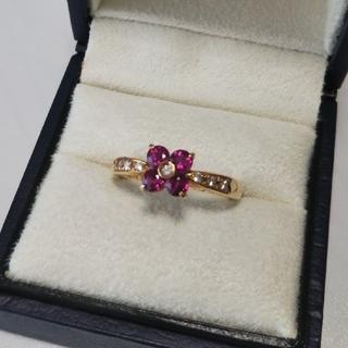 ルビー ダイヤモンド 18金イエローゴールド リング ユリエニタニ(リング(指輪))