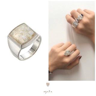 アガット(agete)のagete♡スクエアカット♡ローマンガラスリング♡シルバー♡アガット(リング(指輪))