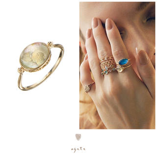 agete - agete♡ローマンガラス♡K10リング♡シャンパンクオーツ♡アガット