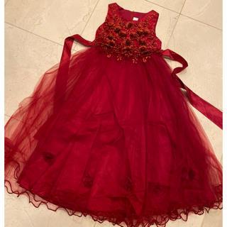 クリスマスやピアノの発表会など❤️赤ドレス130(ドレス/フォーマル)