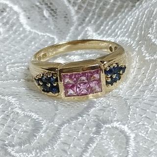 10K ピンク&ブルーサファイアリング(リング(指輪))