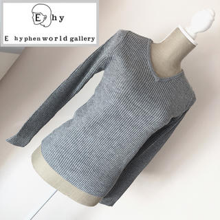 E hyphen world gallery - イーハイフン ラメリブプルオーバー リブニットセーター  グレー
