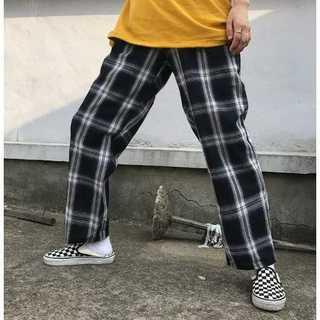 【送料無料】チェック柄パンツ 個性派 原宿系 韓国系 ブラック Lサイズ(その他)