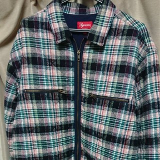Supreme - supreme Quilted plaid zip up shirt