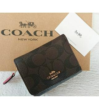 COACH - 【2019  冬最新作❗】コーチ三つ折り財布 ミニ財布 ブラウン×トゥルーレッド