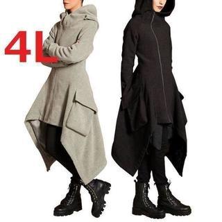 新品大きいサイズ4Lゆったりイレギュラーヘムマキシロングパーカーコート黒(パーカー)