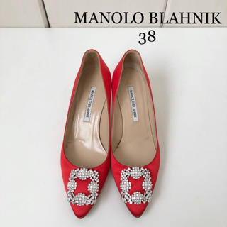 MANOLO BLAHNIK - 極美品 ★ マノロブラニク  ハンギシ サテンパンプス レッド 38 正規品