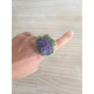 ニット/リング/指輪/お花/ボリューム感あり/おしゃぶり/手編み(リング(指輪))