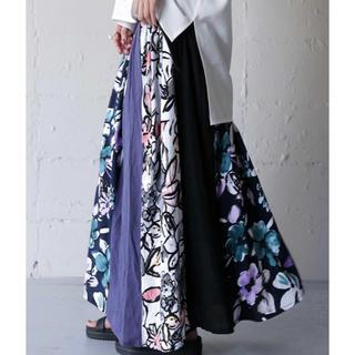 antiqua - アンティカ 花柄切り替えリブロングスカート