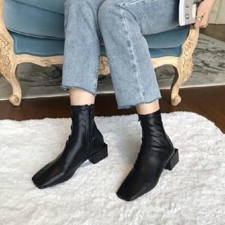新作 ファッション  スクエアアンクルブーツ 革靴シングルブーツ ブラック(ブーツ)