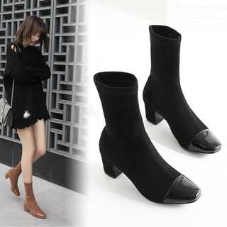 おしゃれソックスブーツ♩太ヒールブーツ*ショートブーツ*ブラック(ブーツ)