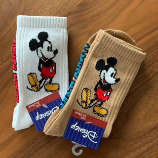 Disney - ディズニー ミッキー 靴下 レディース クルーソックス 2足セット
