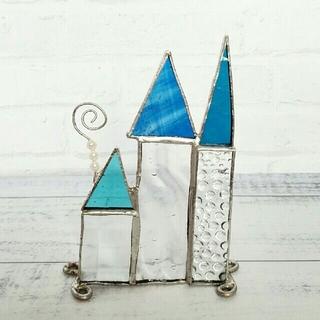 ステンドグラス*三角屋根の塔*メモスタンド*青(置物)