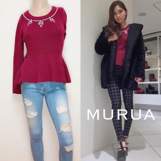 MURUA - MURUA ペプラム リブ ニット トップス♡EMODA JEANASIS
