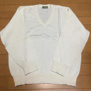 メンズ Vネックセーター ホワイト Lサイズ❗️(ニット/セーター)