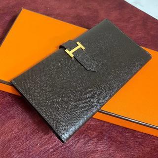 Hermes - ♡未使用品に近い♡ ベアン エルメス ブラウン 二つ折り財布