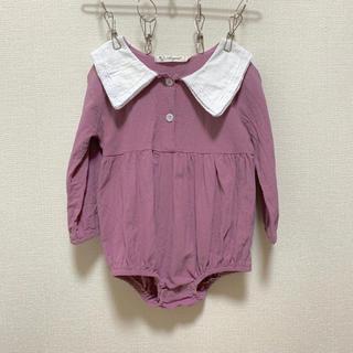 petit main - 韓国子供服 セーラー くすみ紫 ロンパース