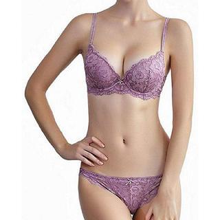 レディース ブラジャー&ショーツ セット 総レース 下着 美乳 ランジェリー 紫(ブラ&ショーツセット)