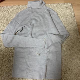 値下トッコクローゼットtoccoclosetMサイズ袖ビジュー付グレーのタートル