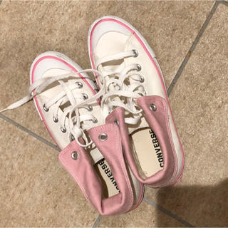 CONVERSE - コンバース レディース  白 ピンク 未使用 23,5