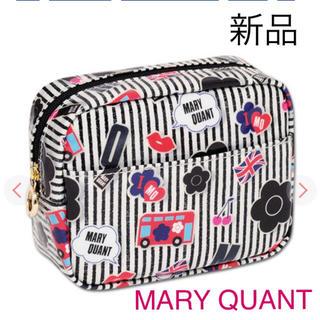 マリークワント(MARY QUANT)の新品 マリークワント ワッペンライク ストライプ ポーチ 化粧ポーチ 黒(ポーチ)