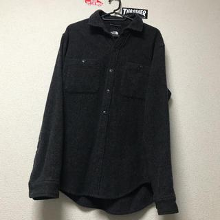 ノースフェイス ウールシャツ ブラック グレー