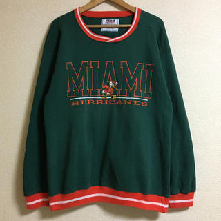 90's USA製 MIAMI HURRICANES リブライン スウェット 緑(スウェット)