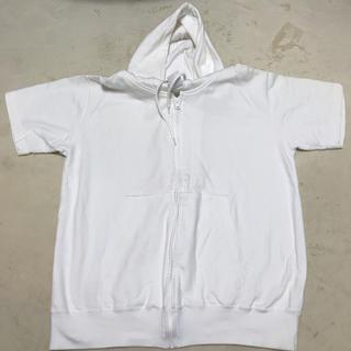 シーシークロス(C.C.†CROSS)の(クロス)CROSS 半袖 薄手 無地 カジュアル パーカー ホワイト L(パーカー)