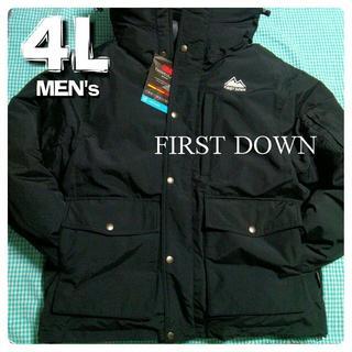 大きいサイズ 4L 中綿ダウンジャケット 防寒 FIRST DOWN 黒 3XL(ダウンジャケット)