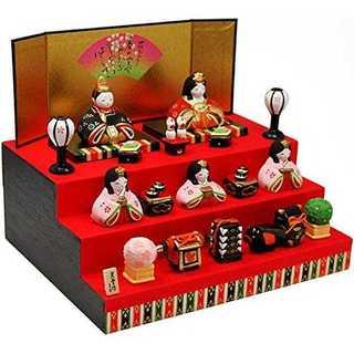 錦彩華みやび雛(三段飾り) 陶器 雛人形 ひな人形 雛 ミニ 雛飾り 初節句 雛