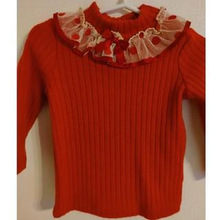 Shirley Temple - シャーリーテンプル レースタートルネックニット 赤 80サイズ 新品