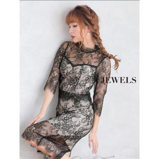 ジュエルズ(JEWELS)の新品☆キャバドレス ドレス フラワー総レース レース XLサイズ 大きいサイズ(ナイトドレス)