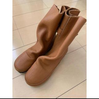 ゆきんこ様専用 ショートブーツ L ベージュ ペタンコ 革(ブーツ)