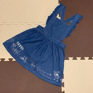 ニットプランナー(KP)のKP みみちゃん刺繍 デニムジャンパースカート 120(ワンピース)