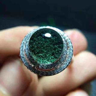 【天然】グリーンガーデンクォーツ リング 9.8mm s925(リング(指輪))