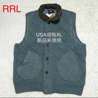 ダブルアールエル(RRL)の大きいサイズ新品RRLラルフローレン インディゴ 中綿入り ニットベスト(ベスト)