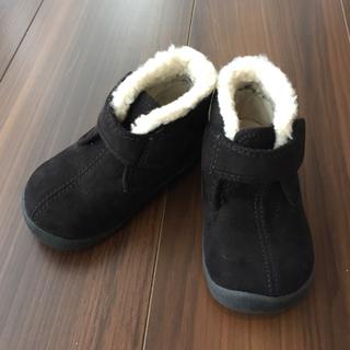 ムジルシリョウヒン(MUJI (無印良品))の無印良品  ベビー キッズブーツ スエード ボア付き黒 13cm 新品未使用(ブーツ)